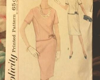1960s Misses Vintage 2-Piece Dress Suit Mad Men ~ Simplicity 4923 Size 12 Bust 32