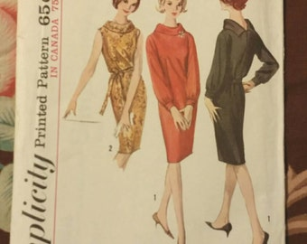 1964 Vintage Classic Sheath Roll Collar, Sleeveless, Long Sleeves w/Cuffs ~ Simplicity 5625 Size 12 Bust 32 UNCUT