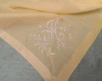 Monogram H embroidered yellow cotton scarf  / vintage