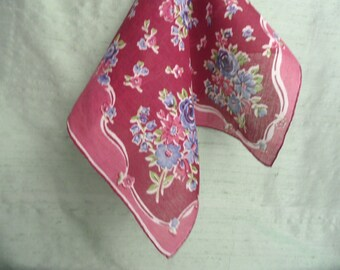 Burgundy and blue floral handkerchief / vintage hankie