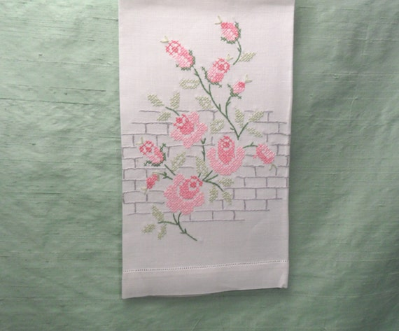 Hand towel embroidered cross stitch pink rose vine guest