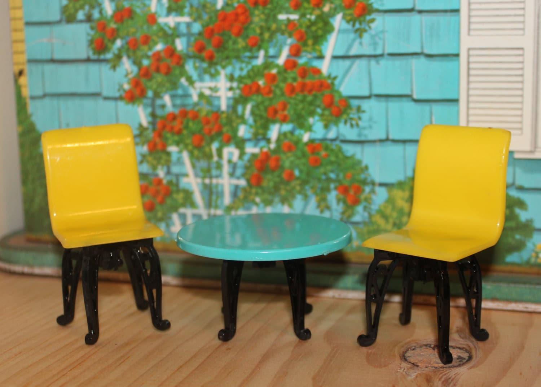 Doll House Furniture Plastic Plasco Patio Set Dollhouse Tin