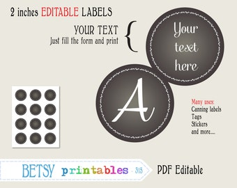 Chalkboard tags, 2 inches circles, Editable labels or tags, printable canning labels, PDF labels or tags - INSTANT DOWNLOAD  315