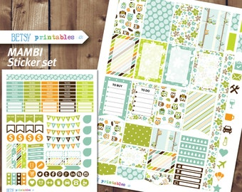 MAMBI Planner stickers Printable Stickers, owl planner stickers, monthly stickers, Happy Planner -  431