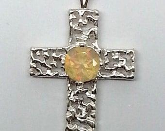 6mm Round Fire Opal Sterling Silver Cross Pendant