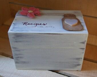 Rustic mason jar recipe Box-3x5. distressed. handpainted.
