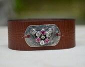 Leather Rhinestone Bracelet. Boho. Soldered . Design. Rustic .Bracelet. Boho .