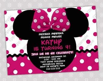 Minnie Mouse Birthday Invitation - Minnie Mouse Birthday Invite -  Digital File