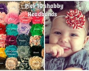 2.00 each PICK 10, Baby Headbands, Shabby Headbands,Newborn Headbands, Infant Headbands,Toddler Headbands, Baby Photo Prop Headbands
