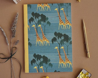 Giraffe Pattern Notebook A5 size, Sketchbook, Writing Notepad, Small, Vintage, Drawing, Gift, African, Animal, Beautiful, Illustrated, Retro