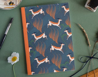 Impala Pattern Notebook A5 size, Sketchbook, Writing Notepad, Small, Vintage, Drawing, Gift, Deer, Animal, Beautiful, Illustrated, Retro