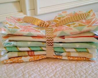 Rag Quilt Style Burp Cloths, Tribal Coral Teal Aqua Peach Mint Gray Herringbone Feathers Arrows Baby Girl Crib Bedding Gift Basket Gold