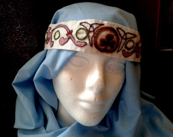 Hand embroidered headband or Fillet, Suitable for Anglo Saxon and Medieval Re-enactment, SCA LARP
