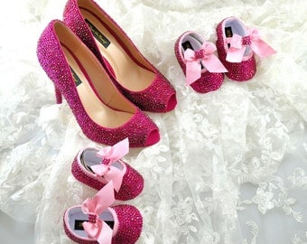 Custom Swarovski Fuchsia Rose Hot Pink crystal encrusted embellished wedding Bridal peeptoe high heel court pump shoes