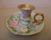 Vintage porcelain candle holder, with handle, hand painted, pre-owned