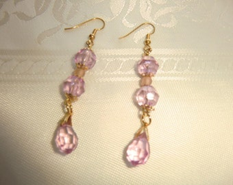 Earings purple crystal drops and beads in Elegant fine style