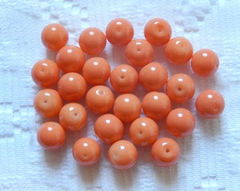 27  Coral Orange Opaque Round Glass Beads  8mm