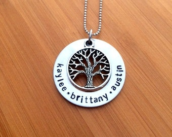 Personalizeed Tree of Life, Family Tree Necklace with Names and Tree Charm