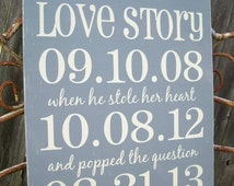 Personalized Wedding Love Story Important Date Sign | Wedding Gift | Anniversary Gift | Custom Special Date Sign | 1st 5th 10th Anniversary