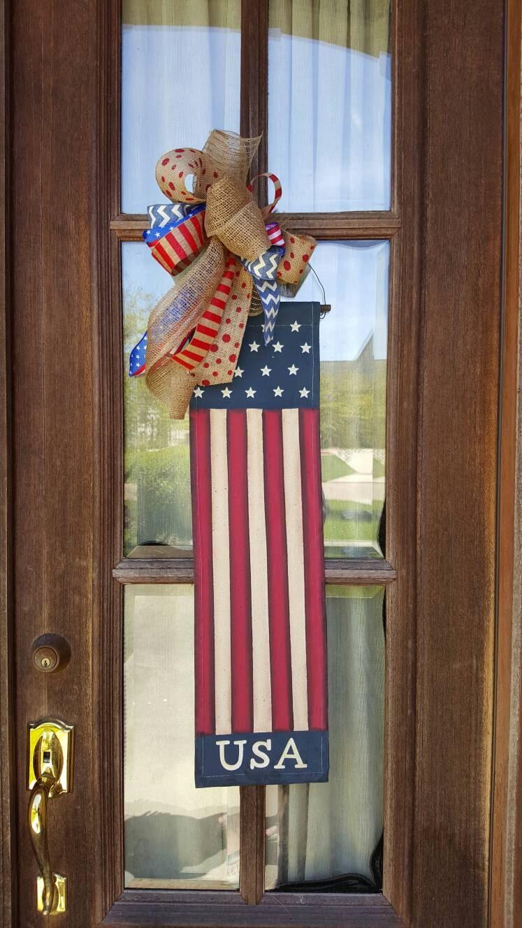 Door Hanger Usa Flag Burlap Bow Memorial Day Flag America Door