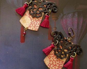 Tribal earrings Chinese - the Imperial - spirit earrings vintage Asian - inspired - roaming in China