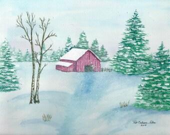 Winter Barn Prints