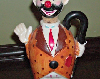 Vintage Clown Jug with Cork a Head