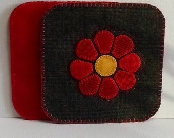 Handmade  Felted Wool Red Flower Mug Mats