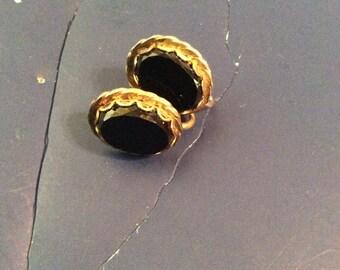 Onyx screw on earrings 1 in