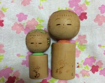 Sosaku Kokeshi vintage wood doll from Japan 2set