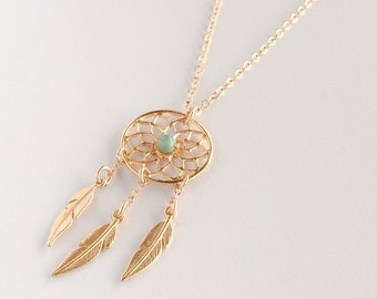 Dream catcher necklace | gold filled necklace | necklace with unique stones | gold necklace