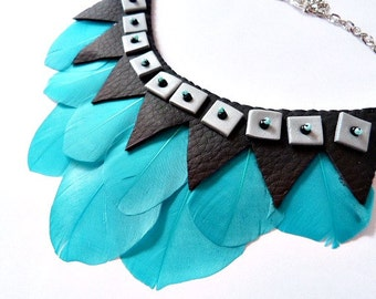 Collar boho chic plumas