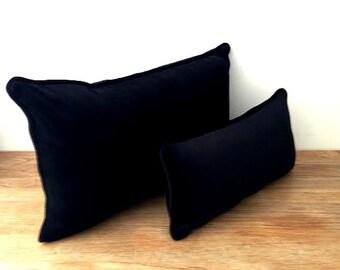 Black Velvet Throw Pillow Cover,  Black Velvet Cushion Cover, Backrest, Free Shipping