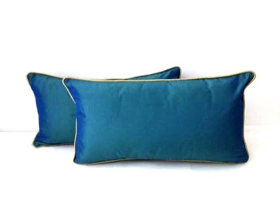 Peacock Blue Throw Pillow : Peacock Blue Silk Throw Pillow Lumbar Backrest by CushionsandMore