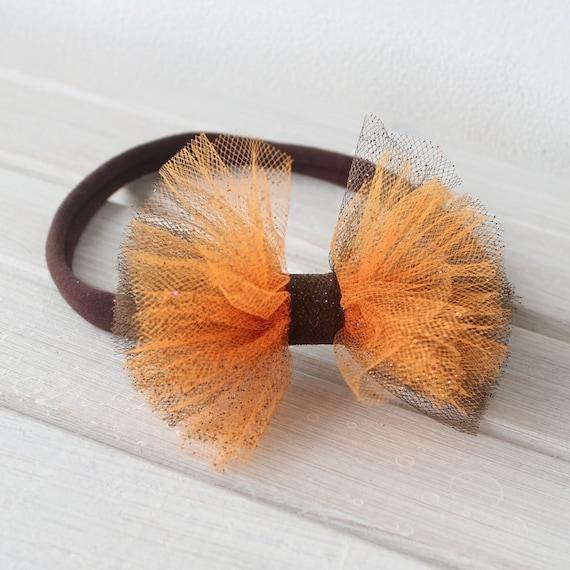 Brown Bow Headband, Orange Headband, Tulle Headband, Brown Headband, Bow Headband, Bow Headpiece, Tulle Bow Headband, Headband for Newborn