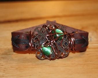 Green Stone Wire Wrapped Bracelet