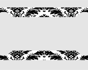 Black and White Damask/ License Plate Frame