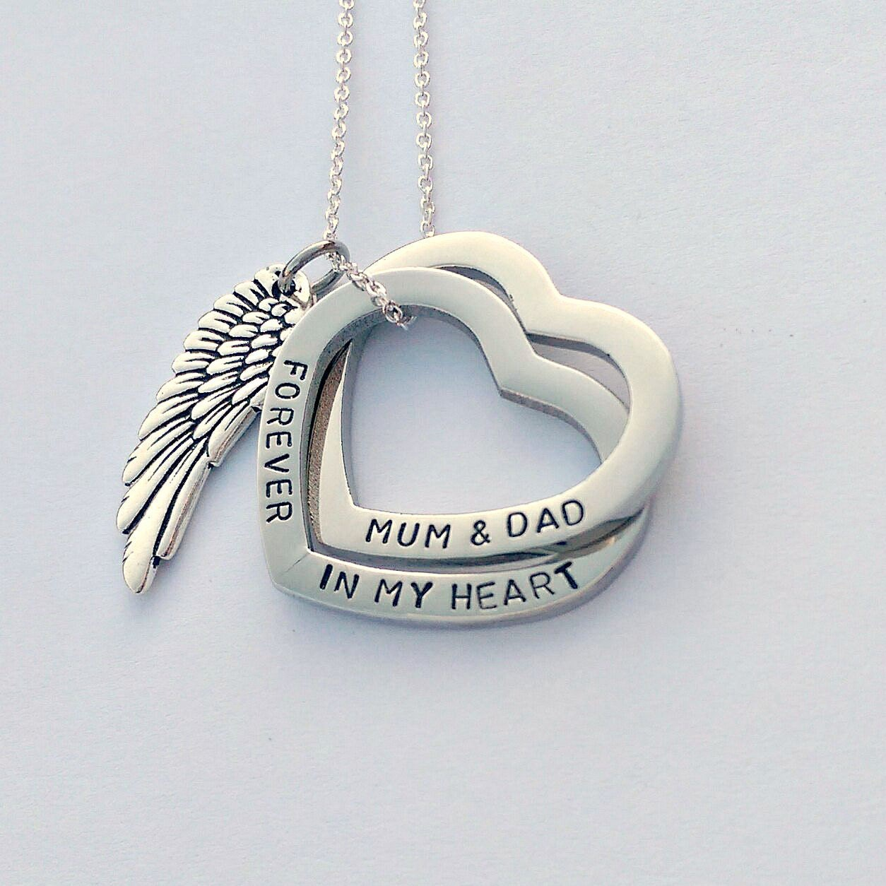 Personalised memorial gift - personalised memorial jewellery - forever in my heart necklace - angel wing necklace - remembrance necklace