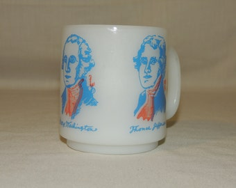 VTG Glasbake George Washington, Thomas Jefferson, Benjamin Franklin President / Founding Fathers / United States Coffee Mug