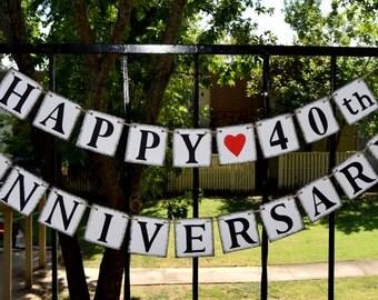 Happy Anniversary Banner , Congrats Banner ,Anniversary Party Decor ,Anniversary Sign, Happy 40th Anniversary