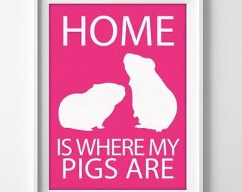 "8x10"" Guinea Pig Art, Guinea Pig Print, Guinea Pig Gift, Cavy Pet, Minimalist Pet Art, Pet Wall Art Print, Exotic Pet, Small Pet Gift"