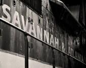 Savannah & Atlanta Diesel Locomotive, Black and White Photography - 12x18 Instant Digital Download