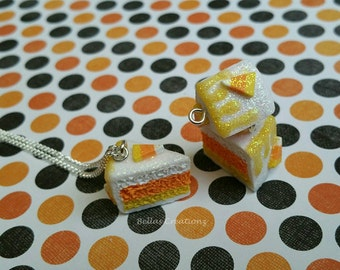 SALE* Candy Corn Cake Slice Necklace, Miniature food jewelry