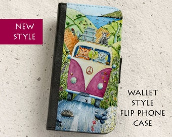 iPhone Case (all models) - Cats - VW Camper Van Watercolour Illustration -Wallet style flip case -   Samsung Galaxy S4,S5,S6,S7,S8 & more
