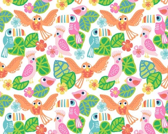 Birds of Paradise White, See You later, Fabric Yard by Maude Asbury for Blend Fabrics, Tropical, Toucan, 101.126.03.1