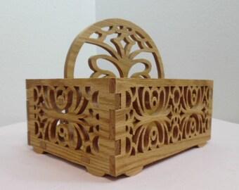 Oak Fretwork Tote Basket