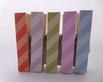 Mini Pegs Clothespin Magnets Magnetic Diagonal Stripe