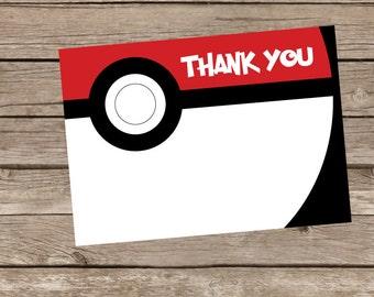 Pokemon Pokeball Thank You Cards