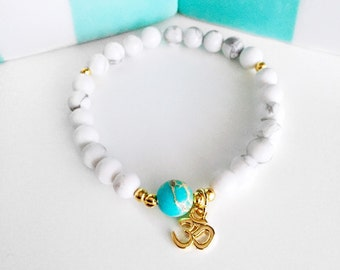Mala Bracelet, Wrist Mala, 108 Mala bracelet,Howlite bracelet,Healing bracelet,OM bracelet,White bracelet,Jasper bracelet,Yoga bracelet,BMHJ