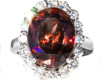 11 ct Natural Cognac Zircon & Diamond Ring